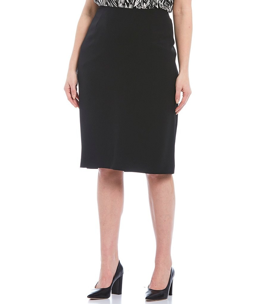 Kasper Plus Stretch-Crepe Skimmer Skirt