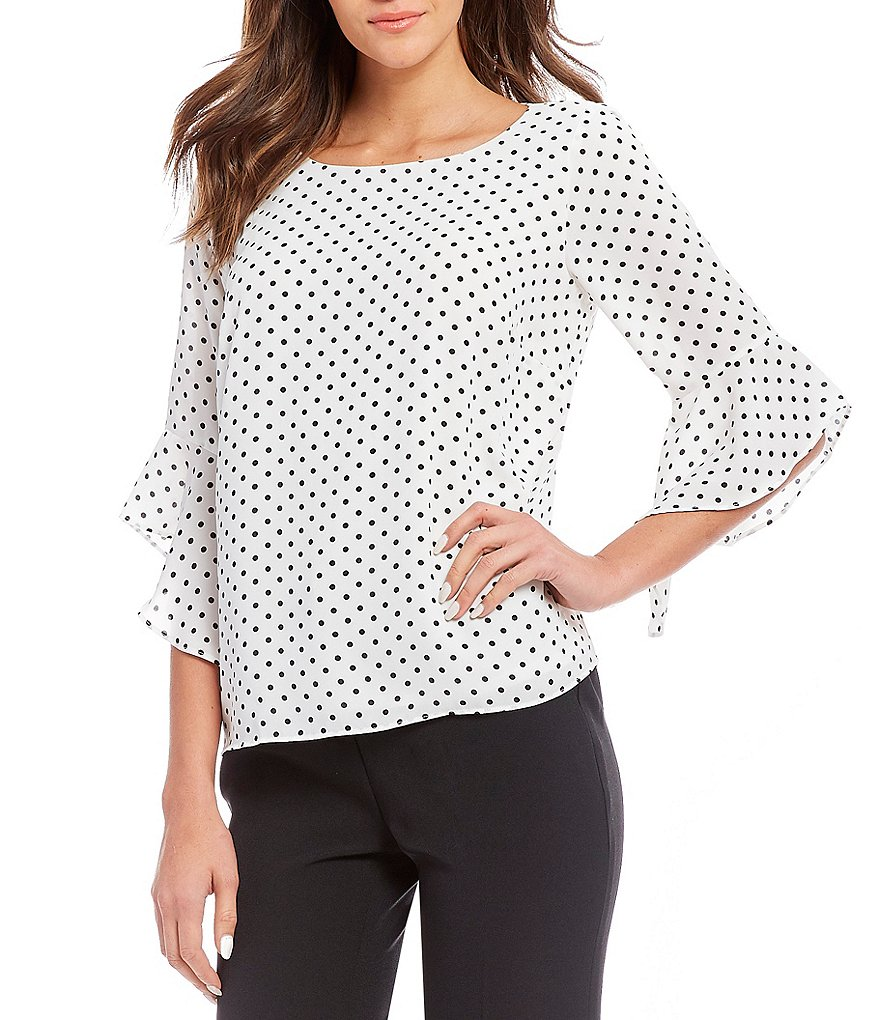 Kasper Polka Dot Tiered Ruffle Sleeve Blouse