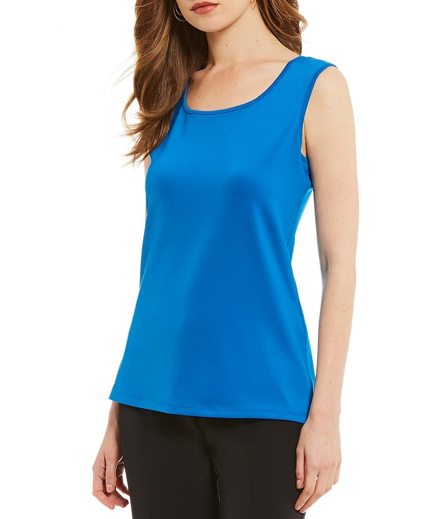 Kasper Scoop Neck Knit Shell