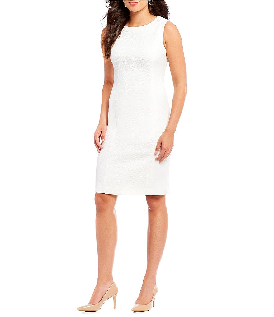 Kasper Solid Jacquard Sheath Dress