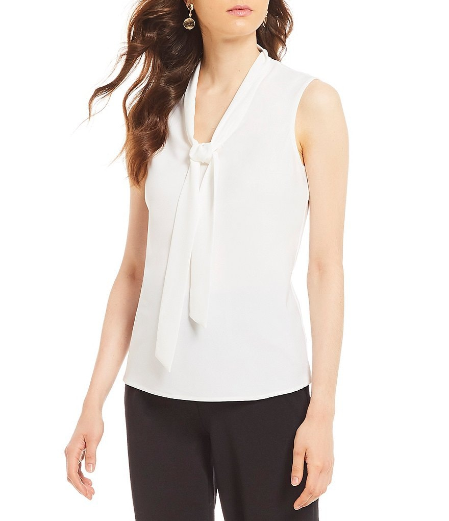Kasper Tie-Neck Crepe De Chine Top