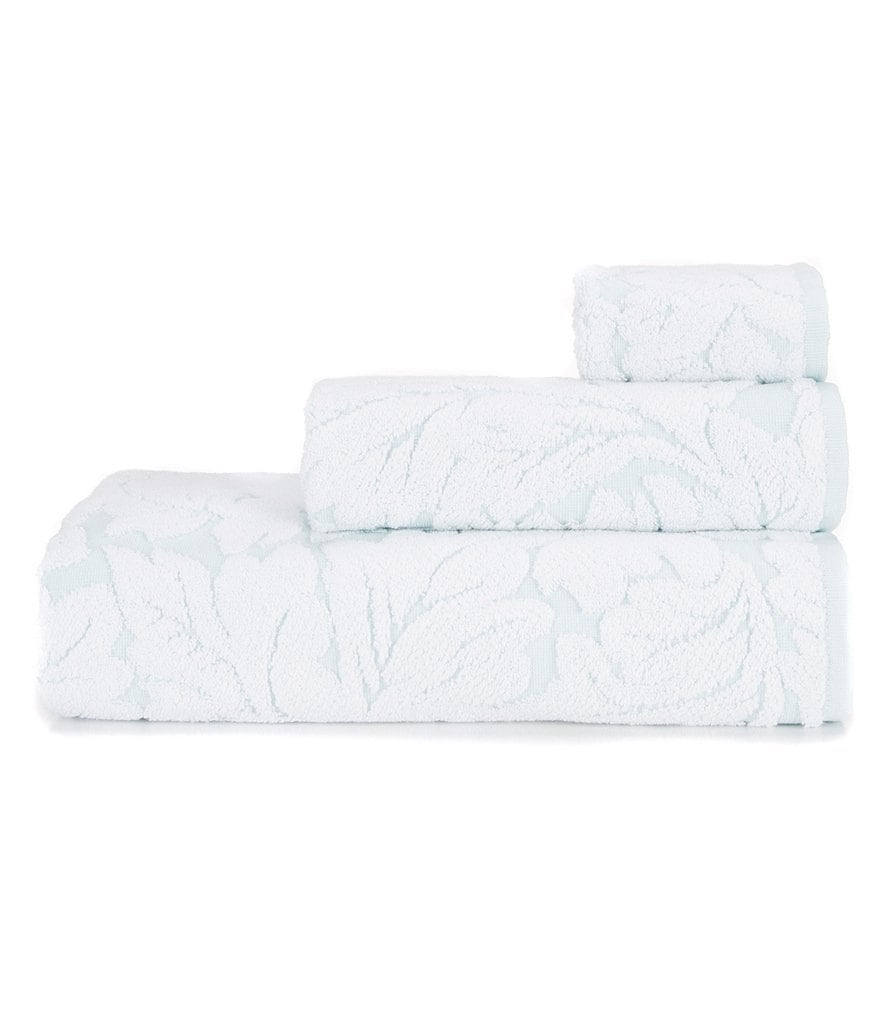 Kassatex Foglia Leaf Jacquard Egyptian Cotton Bath Towels