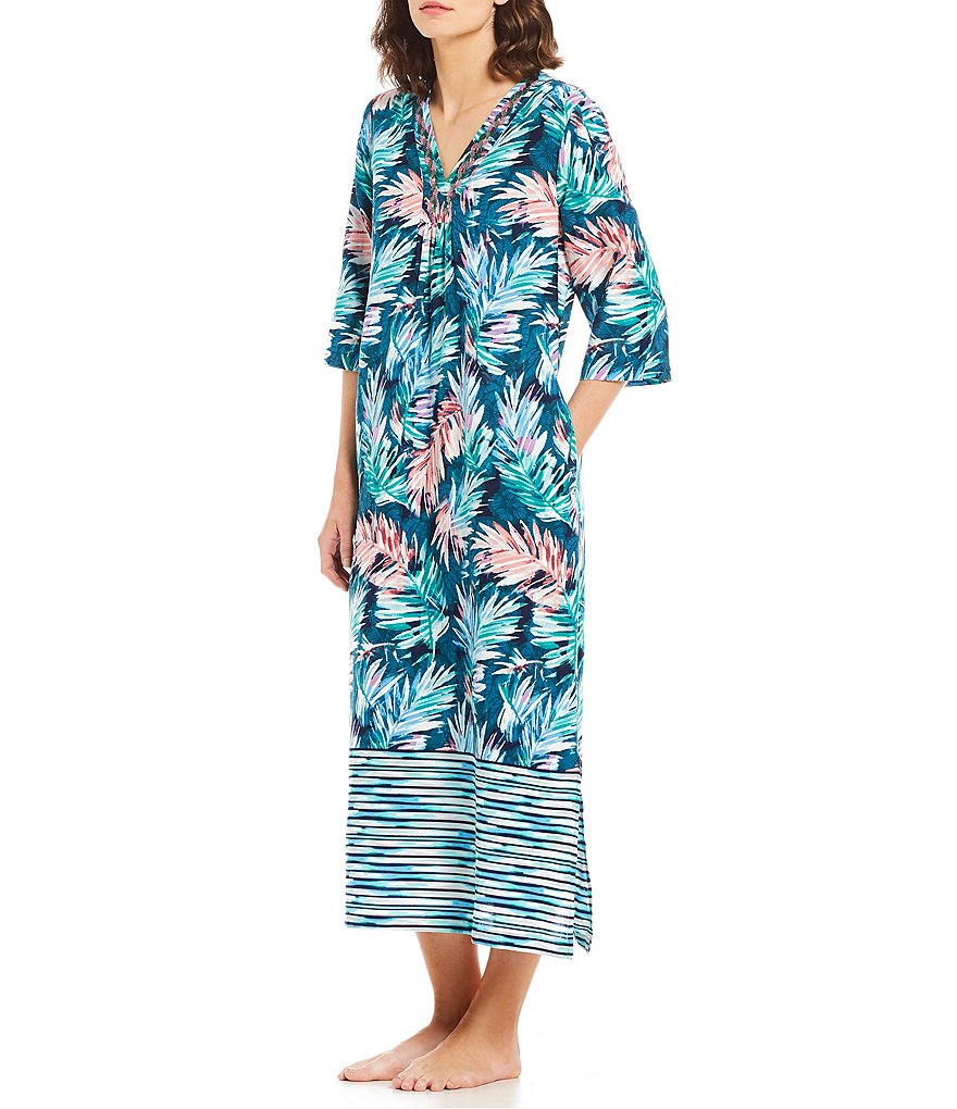 Kate Landry Casuals Tropical Palm Border-Print Challis Caftan