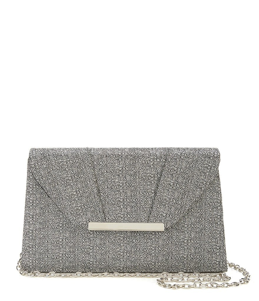 Kate Landry Classic Pleated Metallic Flap Clutch