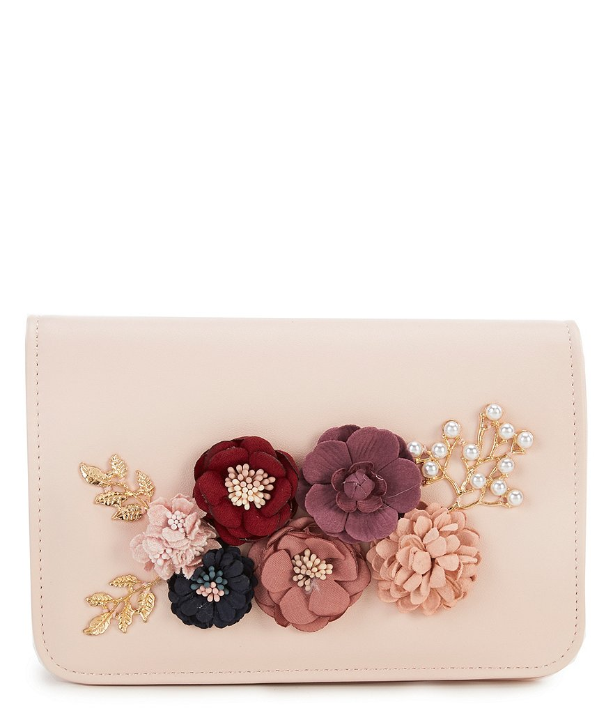 Kate Landry Flower-Accent Flap Clutch