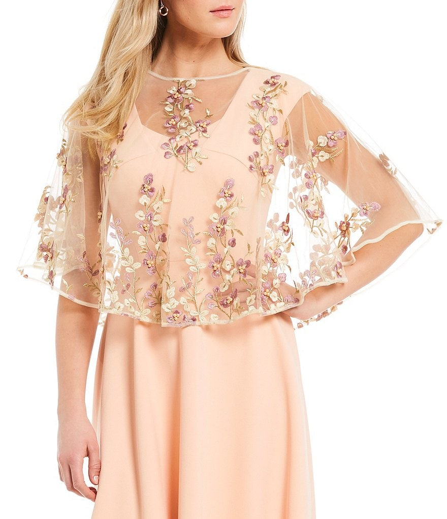 Kate Landry Lilac and Gold Embroidered Vines Evening Wrap