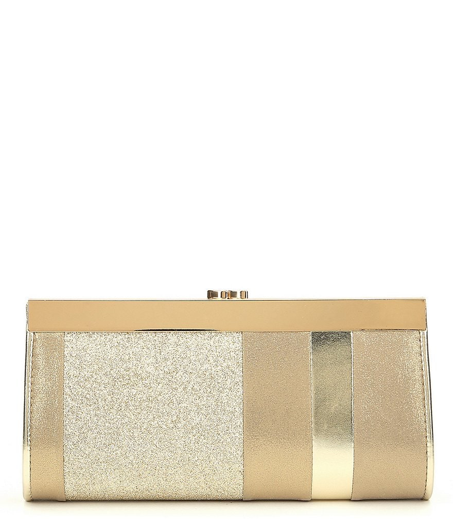 Kate Landry Mixed-Material Frame Clutch