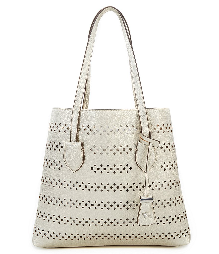 Kate Landry Perforated Metallic Tote