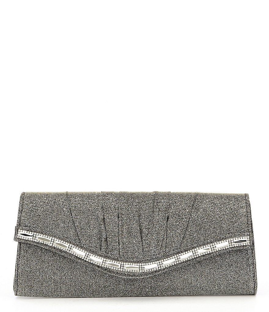Kate Landry Pleated Glittery Stone-Flap Clutch