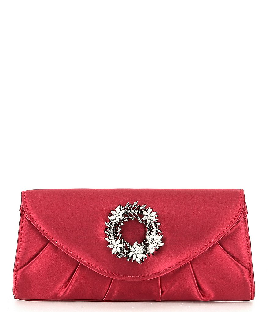 Kate Landry Pleated Wreath-Brooch Clutch