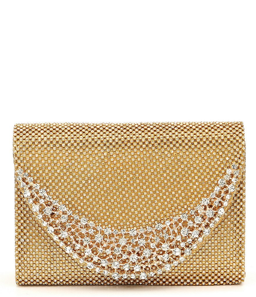 Kate Landry Structured Crystal Mesh Clutch