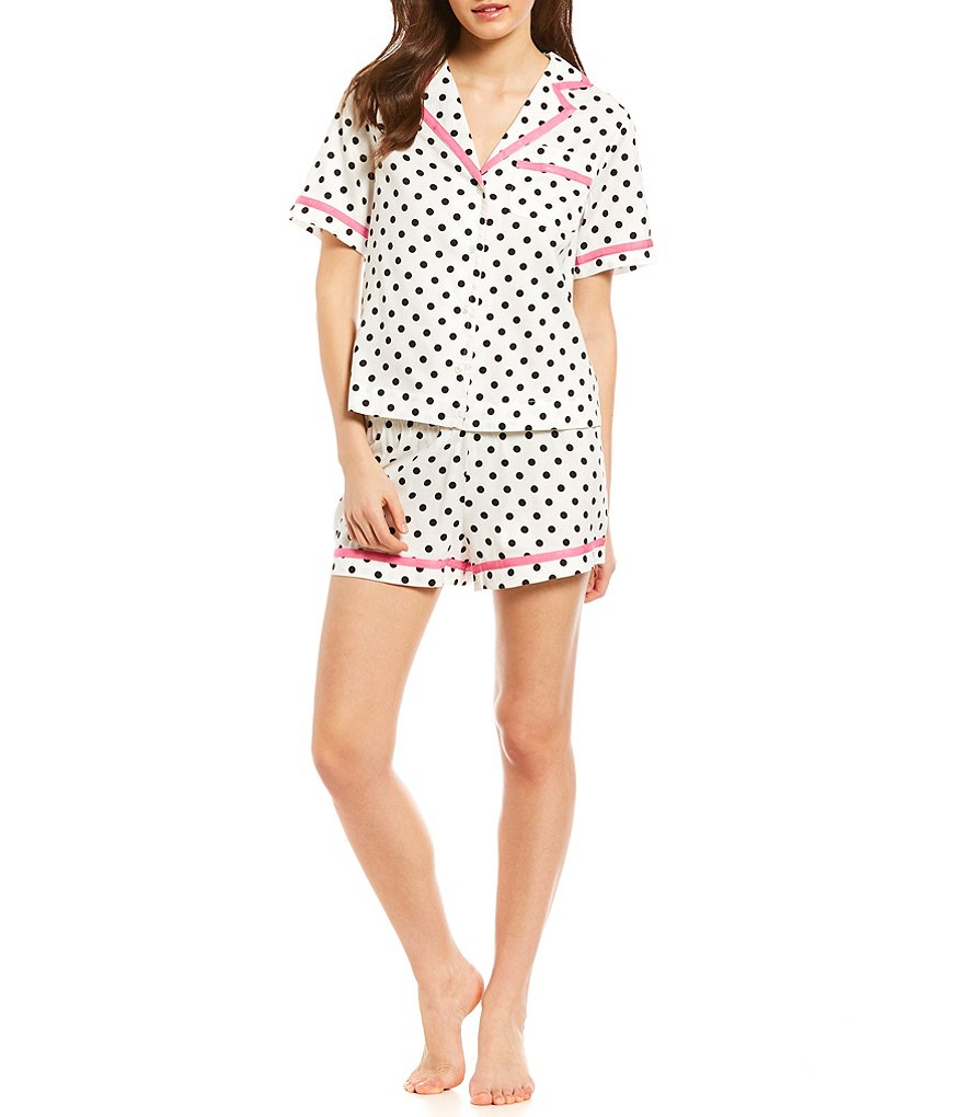 kate spade new york 2pc Dotted-Print Sateen Pajamas