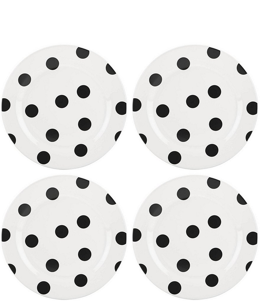 kate spade new york All in Good Taste Black Deco Dot Salad Plates, Set of 4
