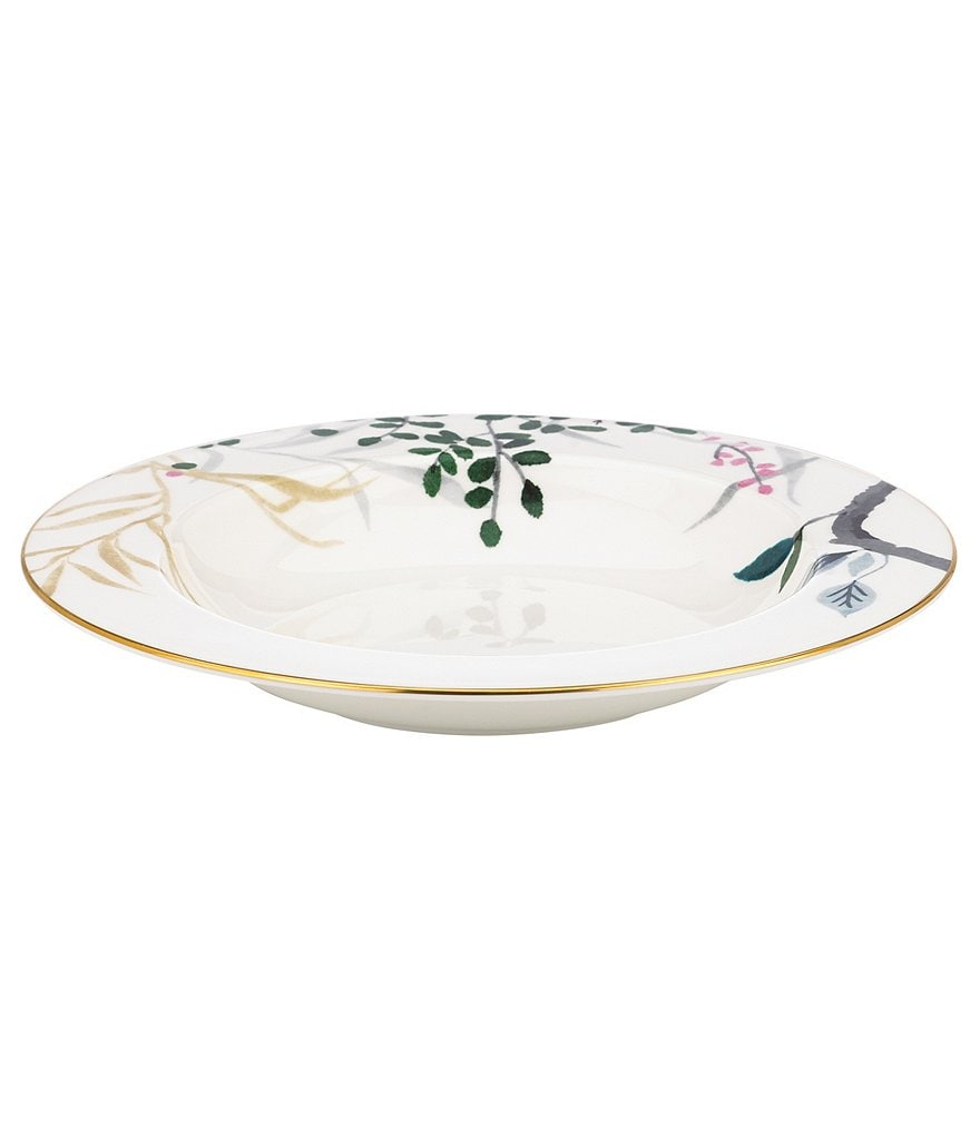 kate spade new york birch way watercolor floral bone china rimmed soup bowl