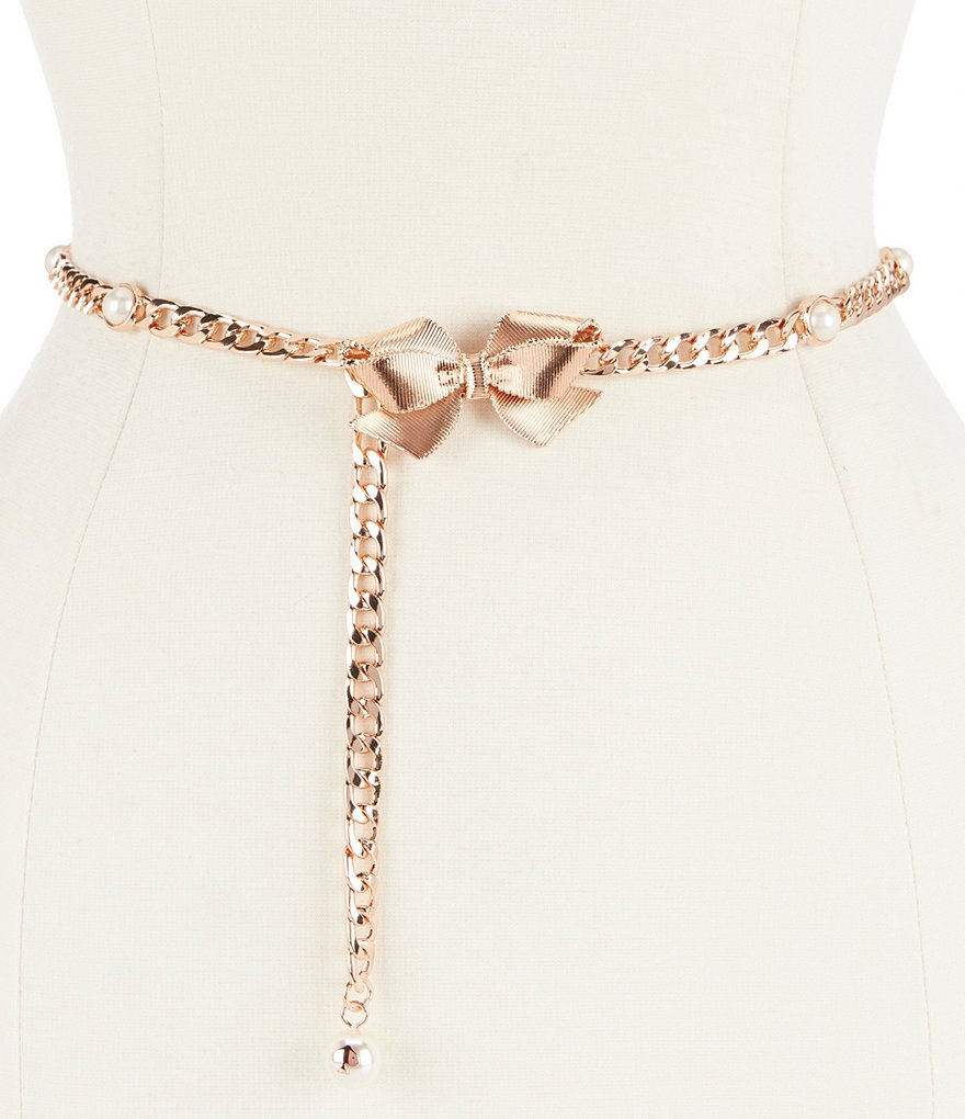 kate spade new york Bow & Faux-Pearl Chain Belt