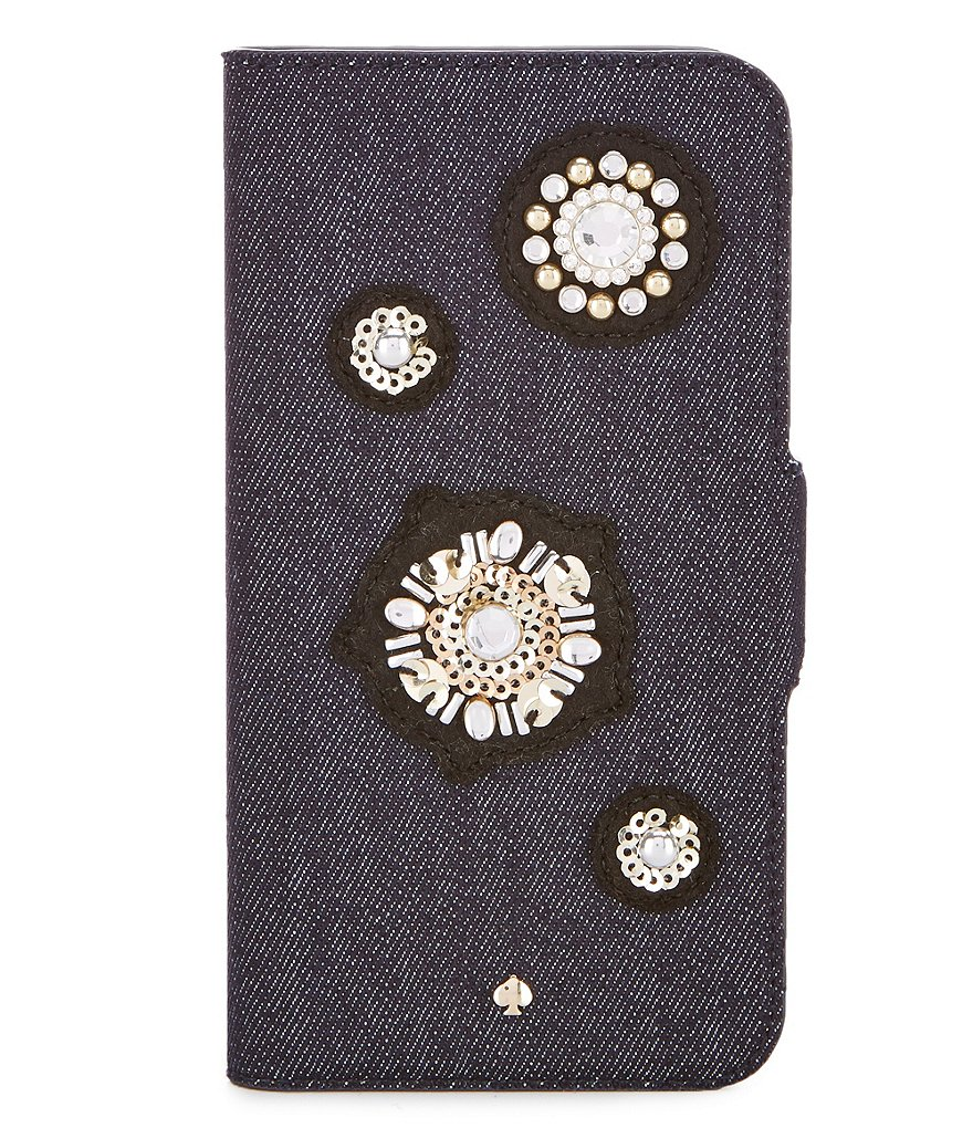 kate spade new york Denim Embellished iPhone X Folio Case