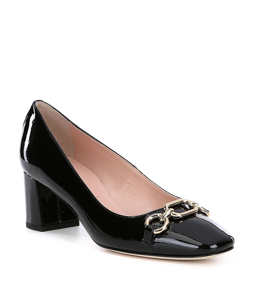 kate spade new york Dillian Patent Leather Chain Link Detail Block Heel Pumps
