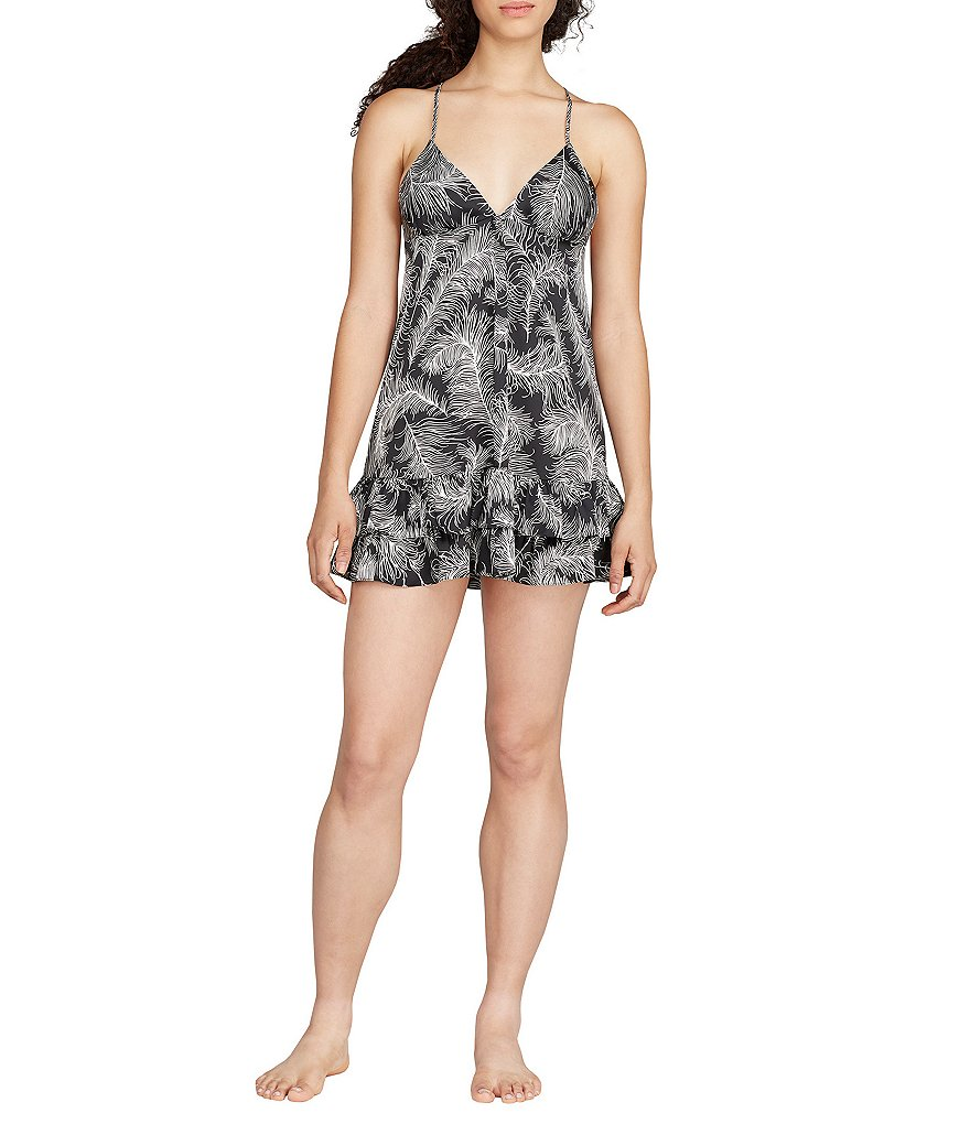 kate spade new york Feather-Print Charmeuse Chemise