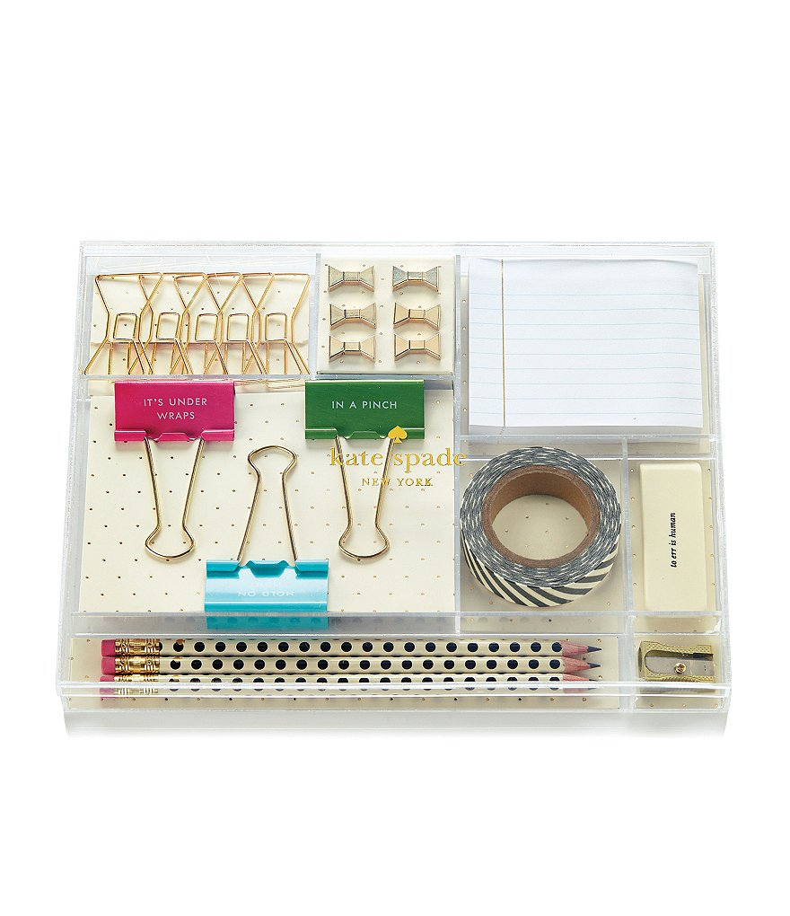 kate spade new york Filled Clear Lucite Office Tackle Box