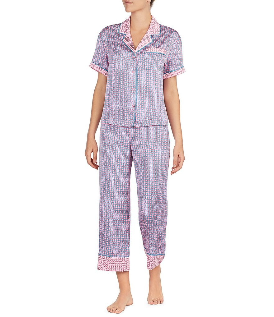 kate spade new york Geometric Grid-Print Satin Cropped Pajamas