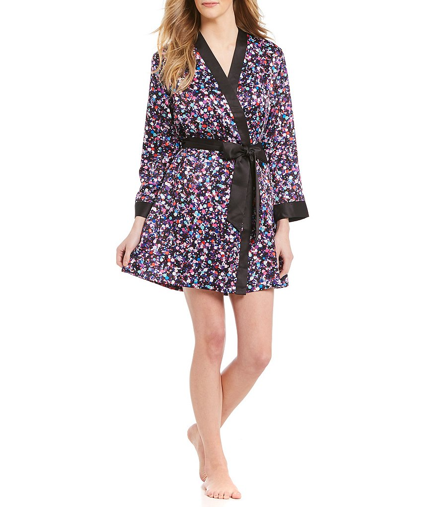 kate spade new york Glitter-Print Charmeuse Wrap Robe