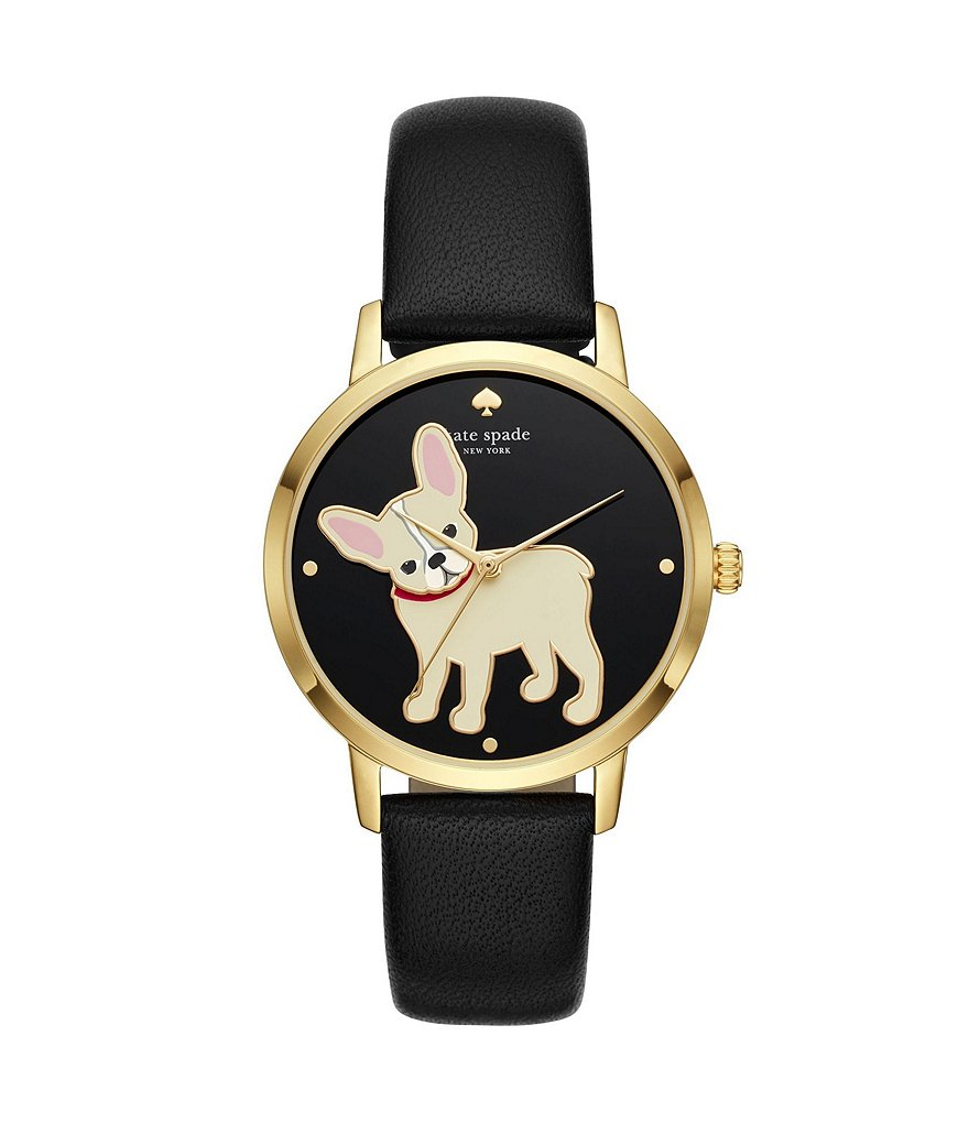 kate spade new york Grand Metro French Bulldog Analog Leather-Strap Watch