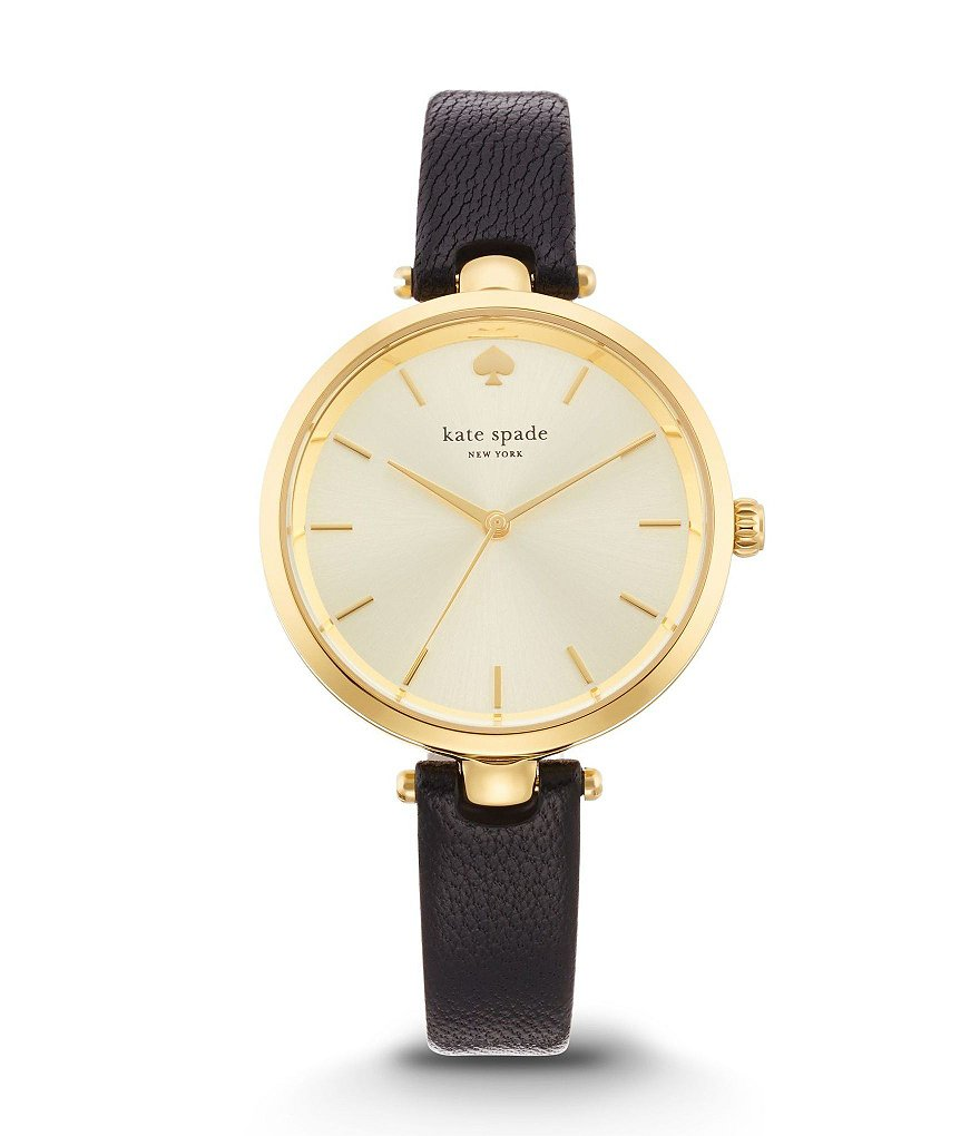 kate spade new york Holland Black Leather Strap Watch