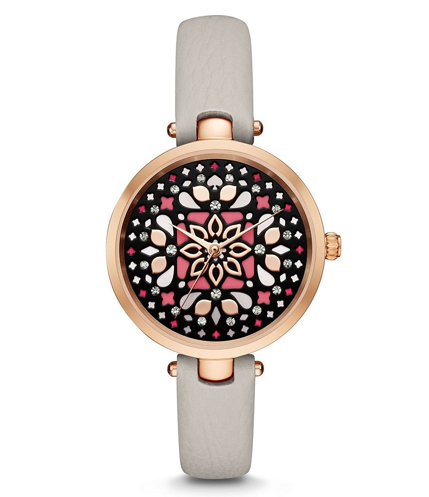kate spade new york Holland Mosaic Clocktower Leather-Strap Watch