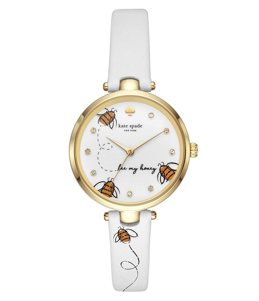 kate spade new york holland queen bee dial leather strap watch