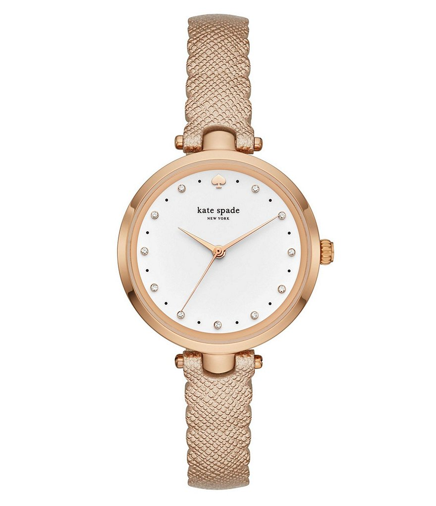 kate spade new york Holland Rose Gold-Tone Stainless Steel Scalloped Metallic Leather Strap Watch