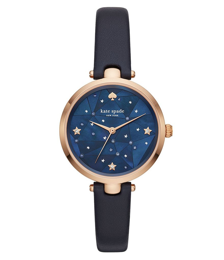 kate spade new york Holland Rose Gold-Tone Stainless Steel Navy Leather Strap Watch
