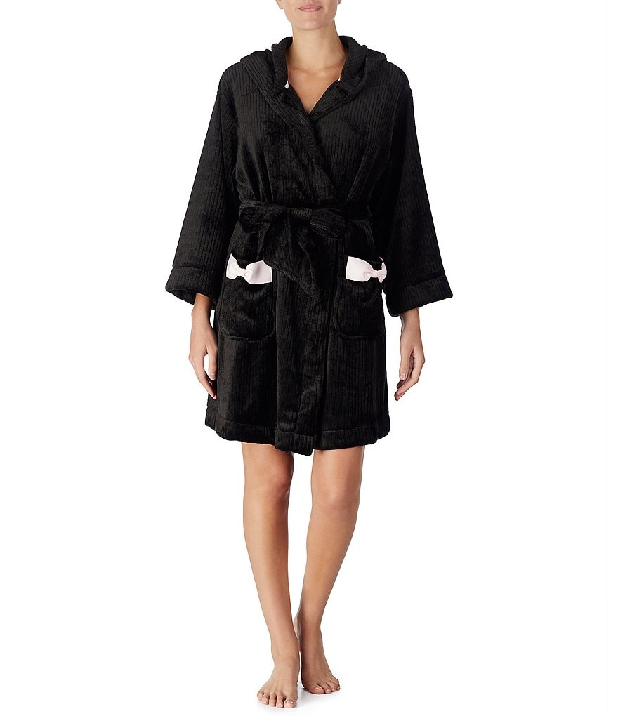 kate spade new york Hoodie Plush Short Wrap Robe