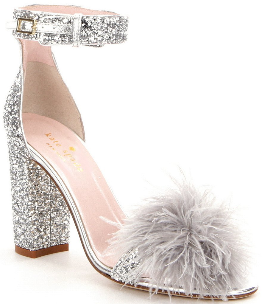 kate spade new york Ilona Glitter Pom-Pom Block Heel Dress Sandals