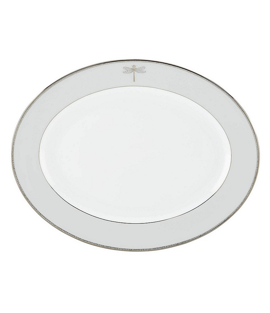 kate spade new york June Lane Dragonfly-Rim Platinum Bone China Oval Platter