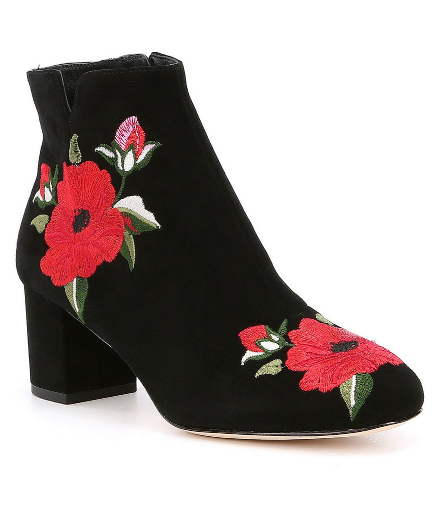 kate spade new york Langton Suede Floral Embroidered Block Heel Booties