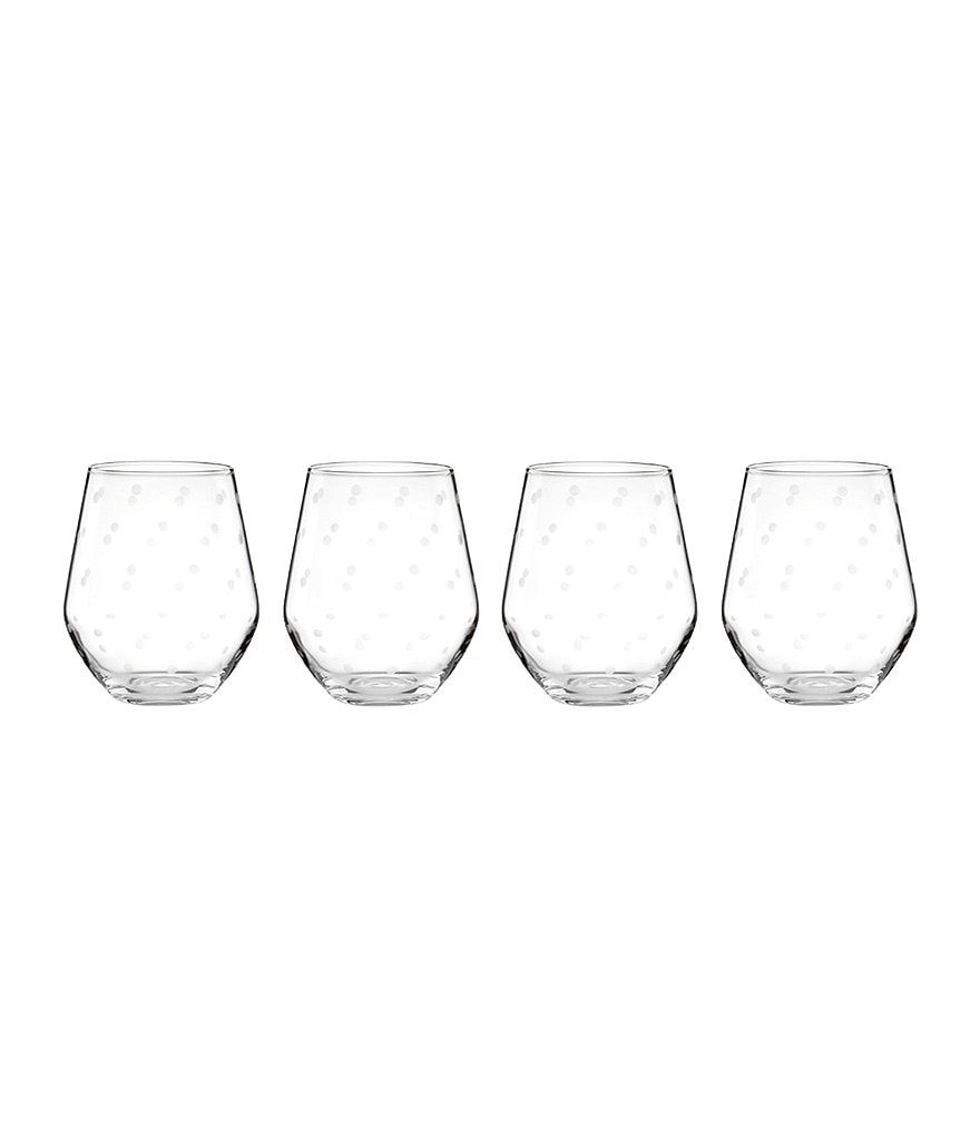 kate spade new york Larabee Road Dotted Crystal Stemless White Wine Glasses, Set of 4