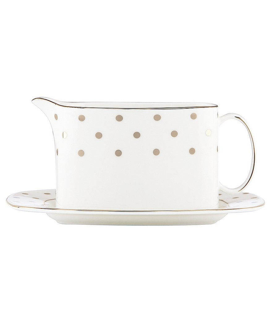 kate spade new york Larabee Road Dotted Platinum Bone China Gravy Boat with Stand
