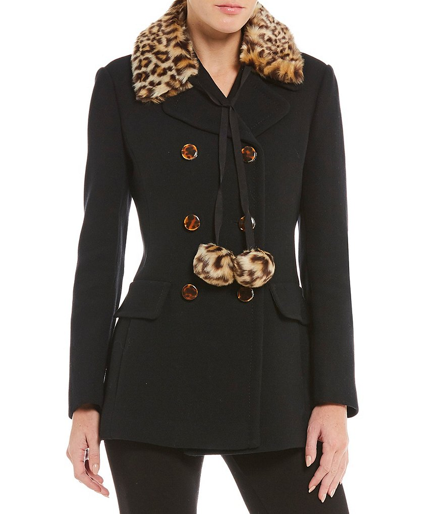 kate spade new york Leopard-Print Faux-Fur Collar with Poms