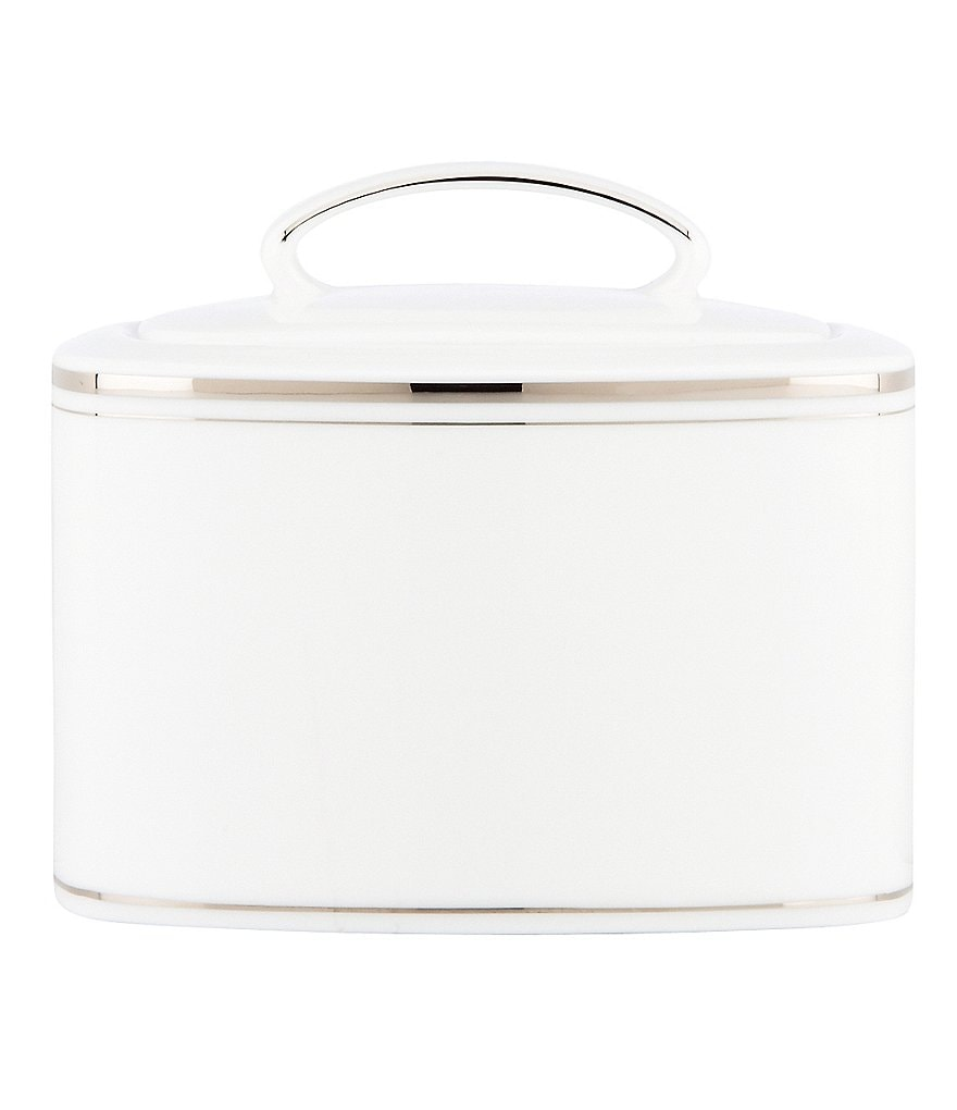 kate spade new york Library Lane Platinum-Striped Sugar Bowl with Lid