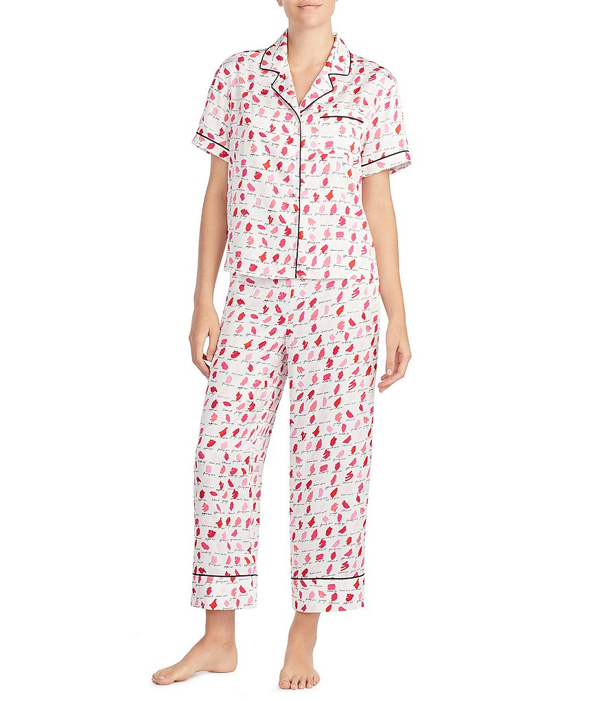 kate spade new york Lipstick-Printed Satin Cropped Pajamas
