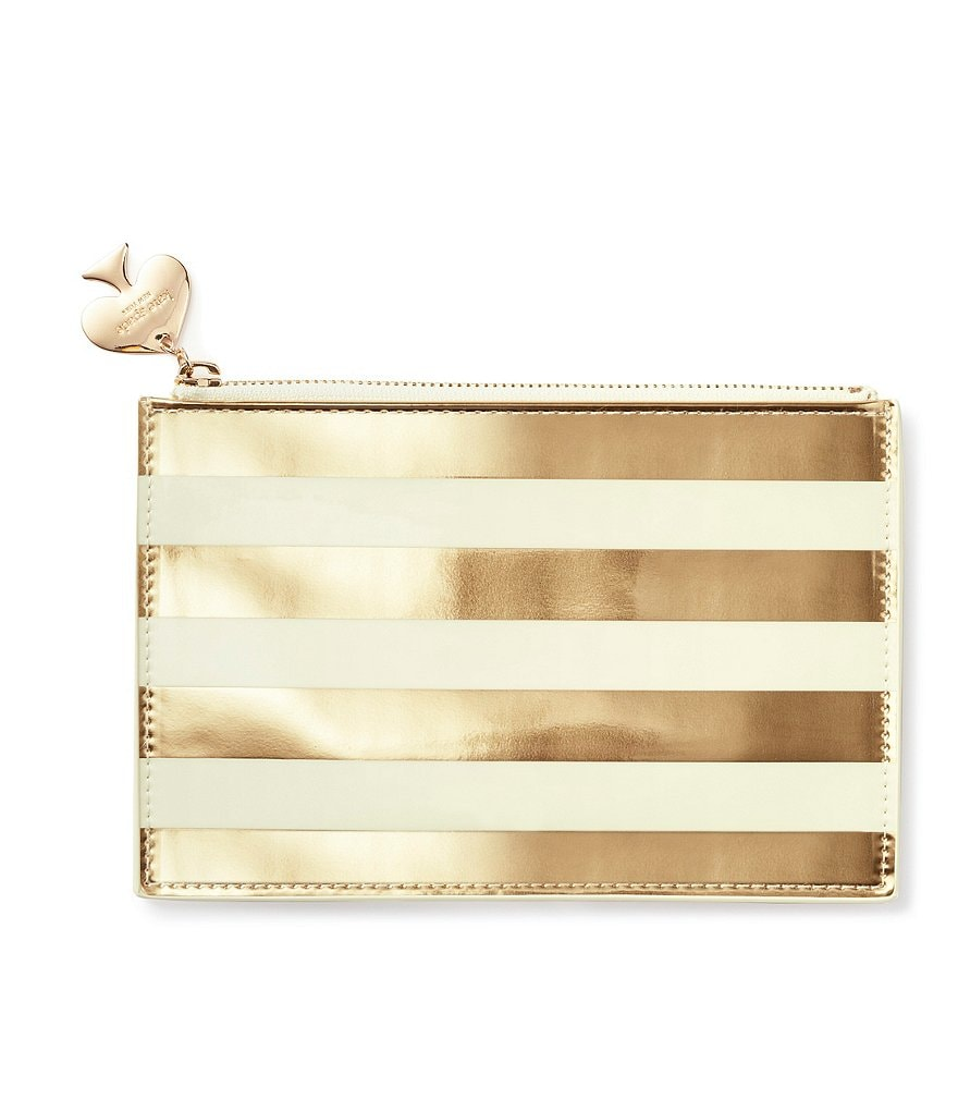 kate spade new york Metallic Striped Pencil Pouch