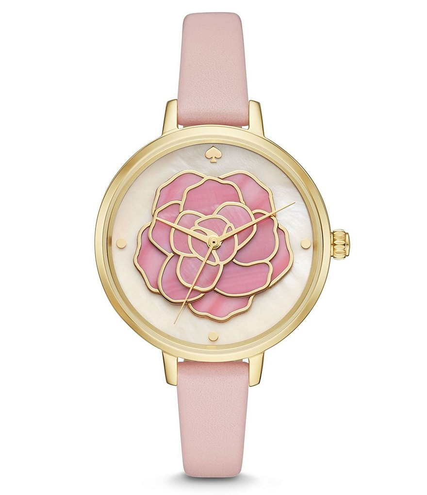 kate spade new york Metro Floral Mother-of-Pearl Analog Atlas Leather-Strap Watch