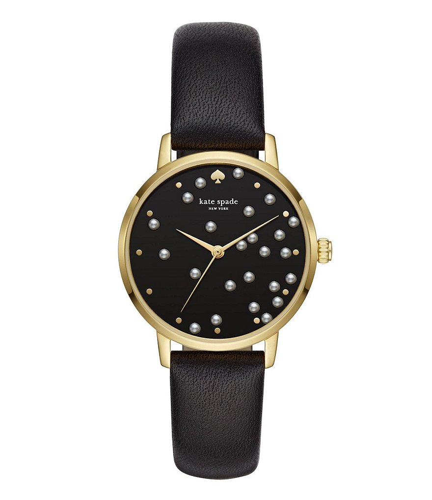 kate spade new york Metro Gold-Tone Stainless Steel Black Leather Strap Watch