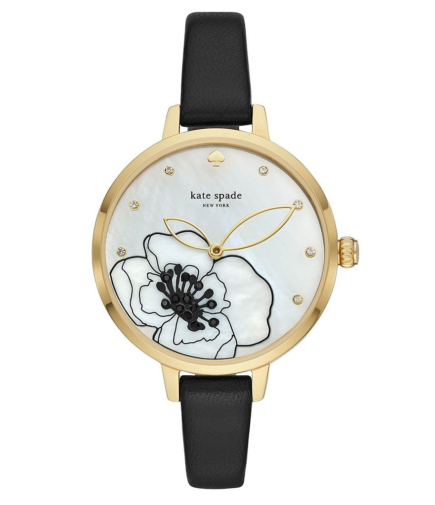 kate spade new york Metro Three-Hand Black Leather Watch