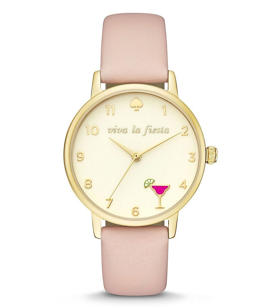 kate spade new york Metro Viva la Fiesta Margarita Leather-Strap Watch