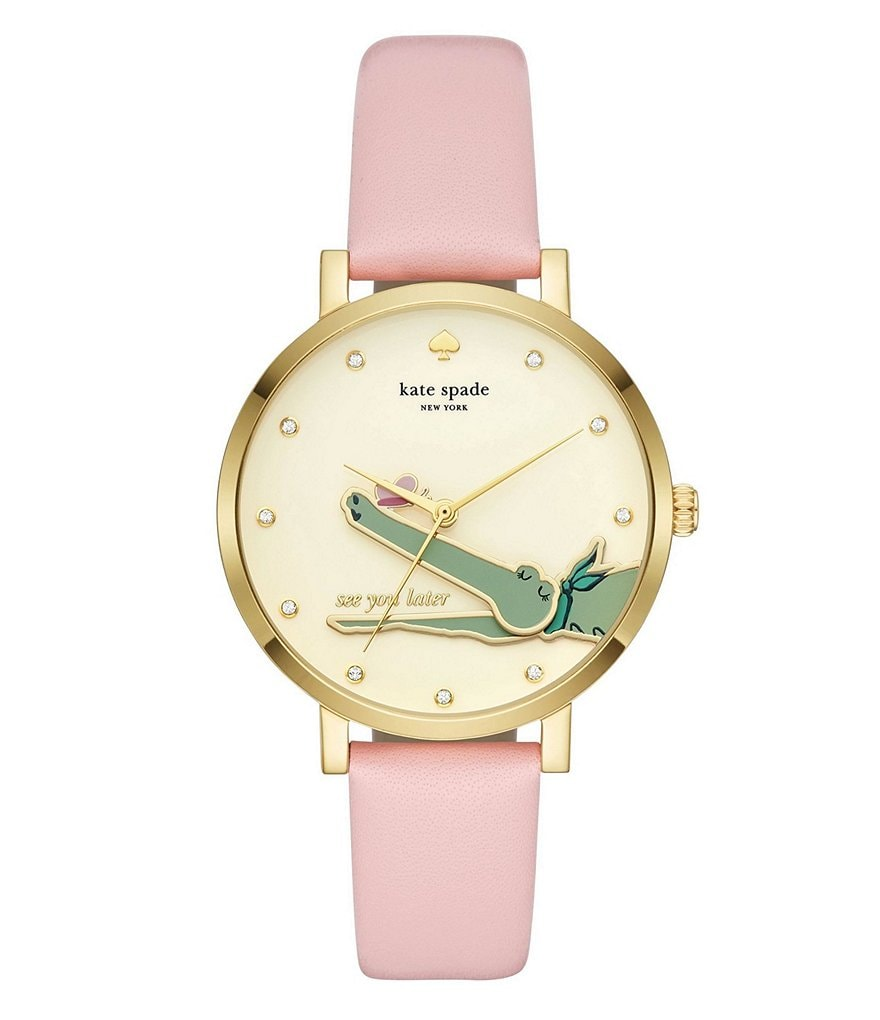 kate spade new york monterery alligator dial leather strap watch