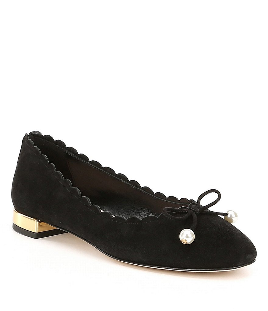 kate spade new york Murray Suede Scalloped Pearl Tie Flats