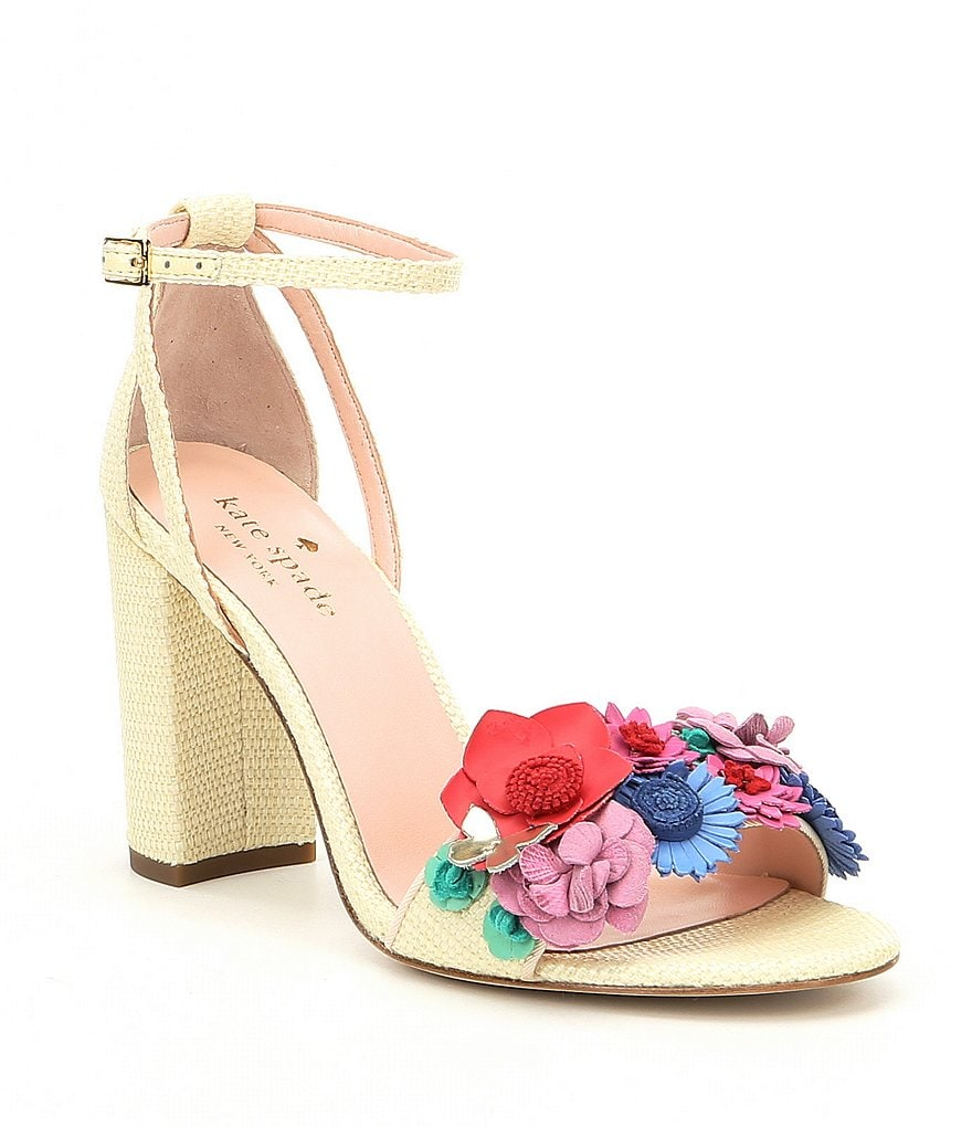 kate spade new york Obelie Raffia Floral Detail Ankle Strap Block Heel Dress Sandals