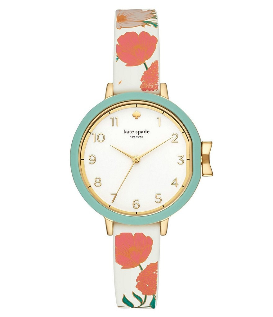 kate spade new york Park Row Floral Accented Silicone Strap Watch