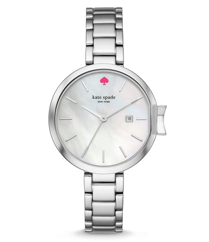 kate spade new york Park Row Mother-of-Pearl Analog & Date Bracelet Watch